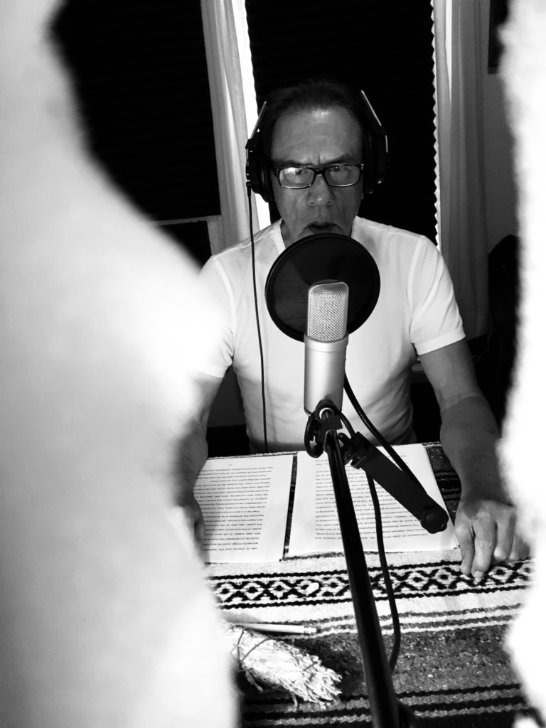 Wes recording the audio book