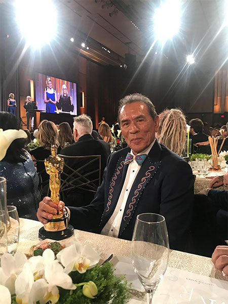 Wes Studi with Oscar trophy